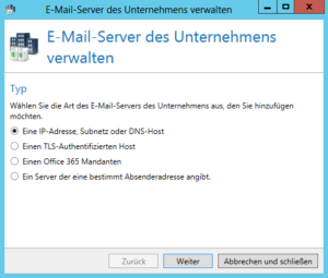 Screenshot E-Mail-Server des Unternehmens verwalten Typ
