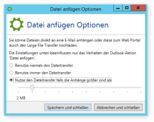 Screenshot NoSpamProxy Limit Dateianhänge
