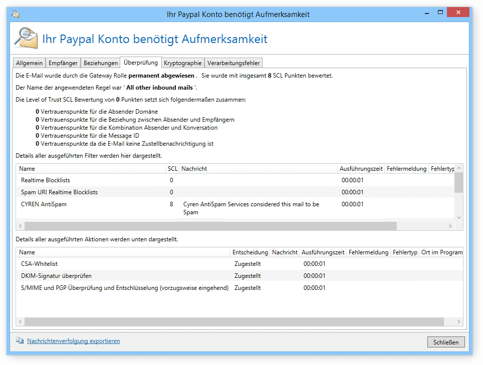 Screenshot NoSpamProxy Spyware Warnung