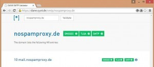 Screenshot DANE SMTP Validator