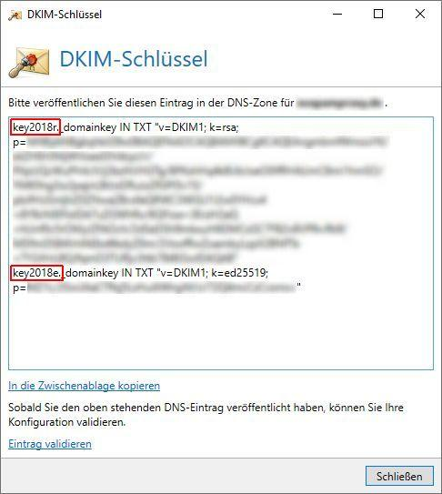 DKIM Schlüssel Version 13