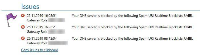 DNS server is blocked by Spam URIRBL