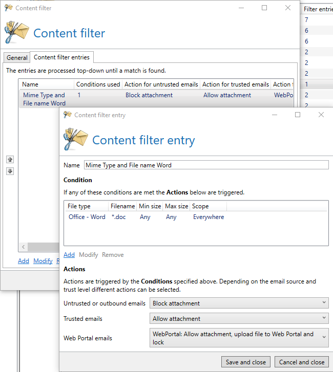 Contentfilter AND Releation EN