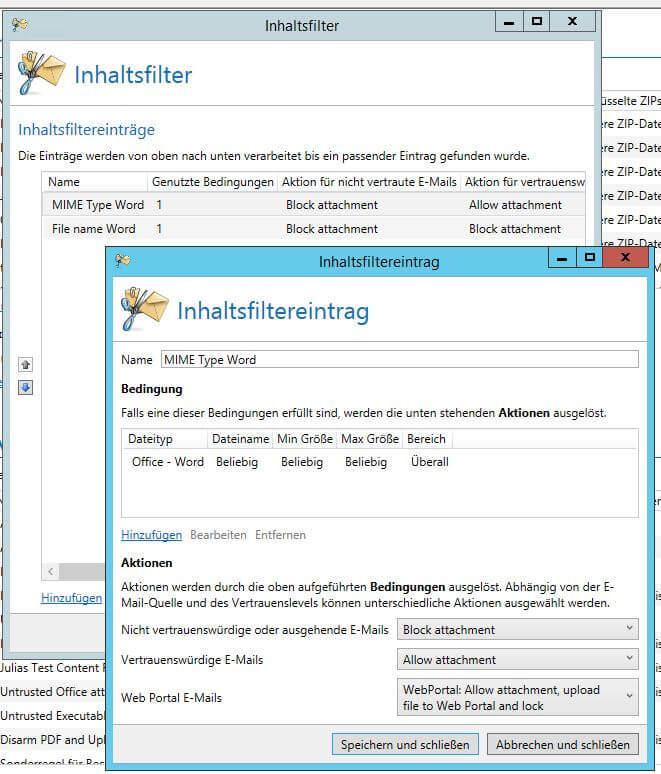 Inhaltsfilter mit MIME Type Bedingungen im Inhaltsfiltereintrag