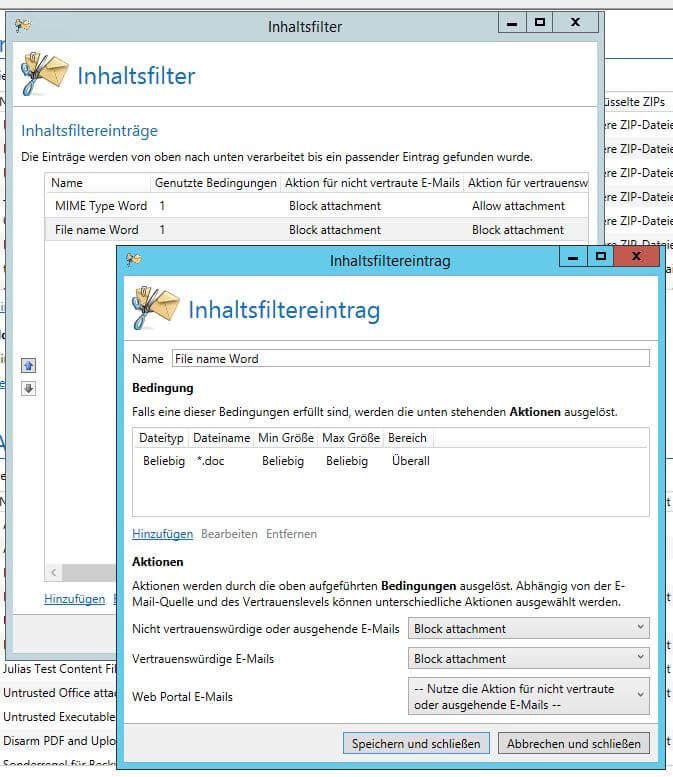 Inhaltsfilter mit Dateiname Bedingungen im Inhaltsfiltereintrag