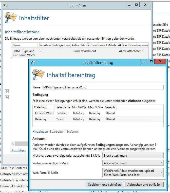 Inhaltsfilter mit zwei Bedingungen im Inhaltsfiltereintrag