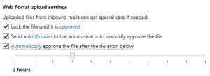Screenshot NoSpamProxy upload settings