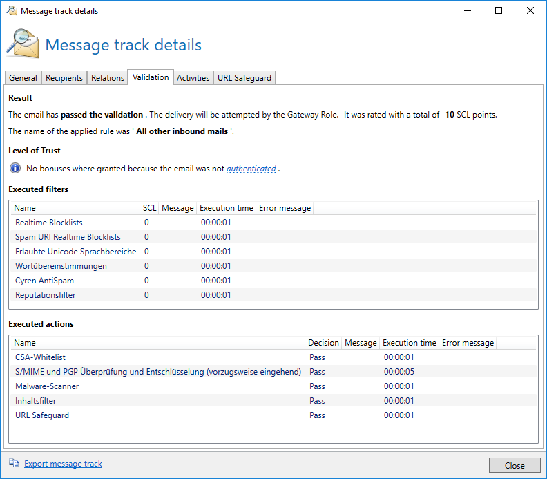 Message Tracking in NoSpamProxy