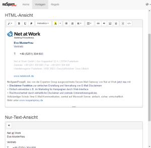 NoSpamProxy Disclaimer Screenshot Vorlage