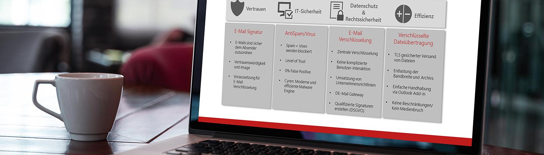 Notebook mit Präsentation Anforderungen an sichere E-Mail-Kommunikation