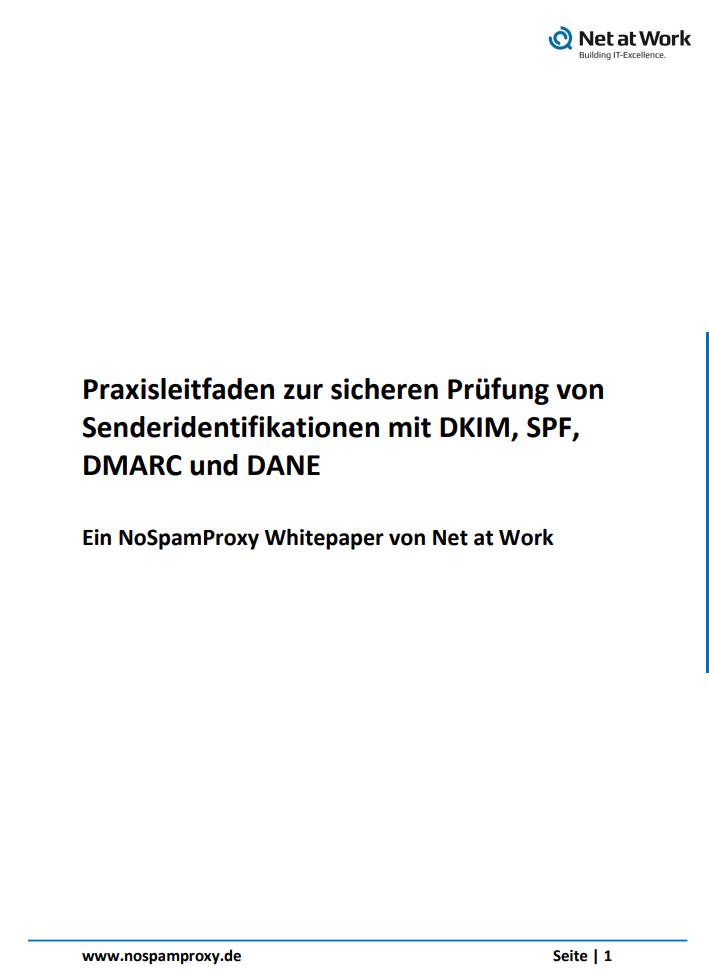 Praxisratgeber SPF, DKIM, DMARC und DANE