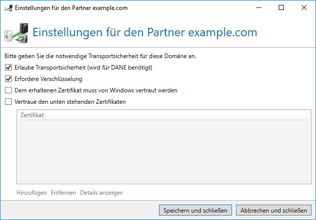 Screenshot Einstellungen für Partner