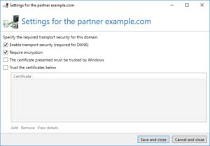 Screenshot partner settings TLS