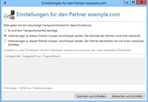 TLS-Seite Einstellungen für den Partner