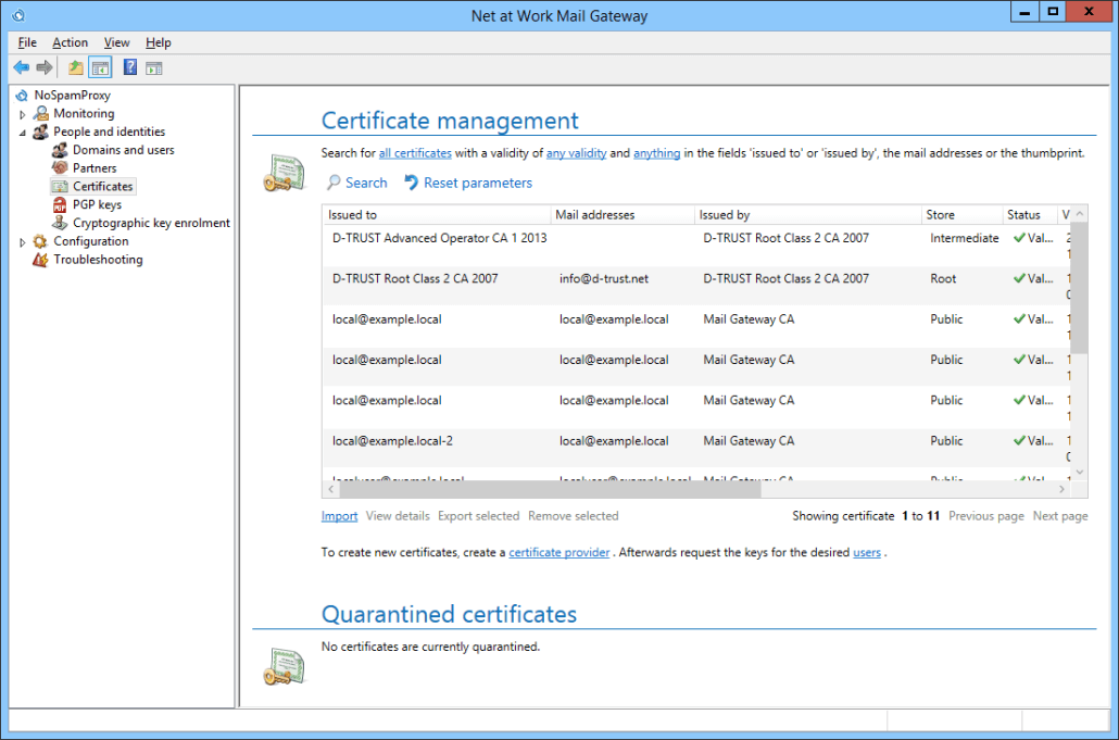 Gateway Certificate management