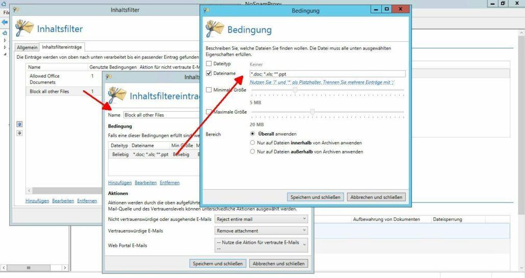 Nicht erlaubte Dateiendungen bestimmen