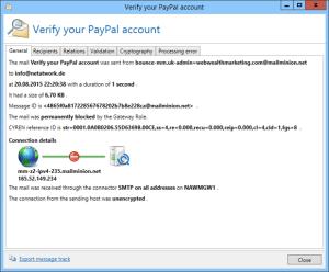 Screenshot NoSpamProxy spyware warning