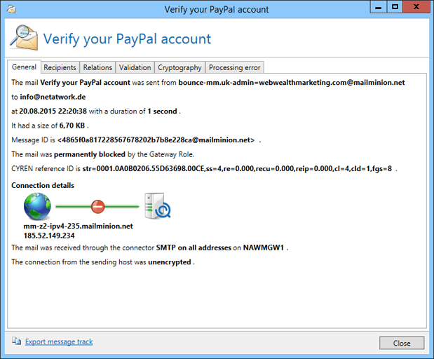 Screenshot NoSpamProxy spyware warning