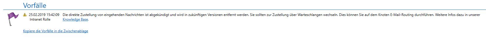 Meldung Direkte Zustellung deutsch