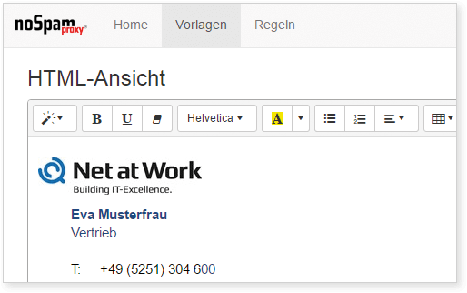 Screenshot Disclaimer HTML-Ansicht