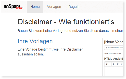 NoSpamProxy Disclaimer Screenshot Wie funktioniert's