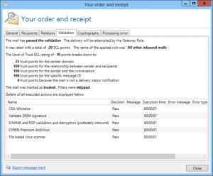 Screenshot NoSpamProxy sender validation