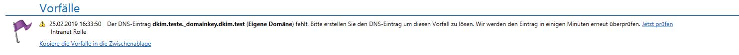 DKIM Schlüssel nicht veröffentlicht