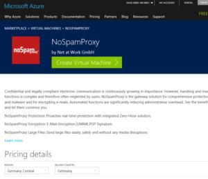 Screenshot Microsoft Azure NoSpamProxy Marketplace