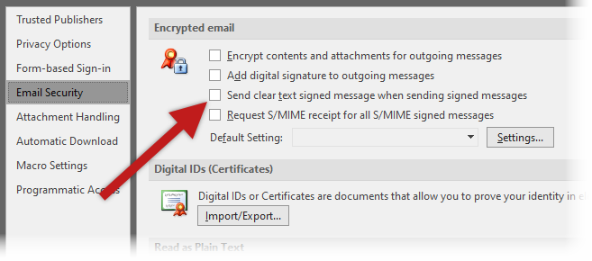 Enabling opaque signing in Microsoft Outlook