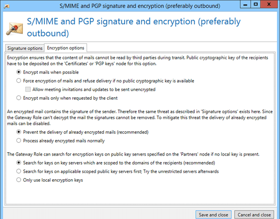 NoSpamProxy encryption S/MIME and PGP signature and encryption
