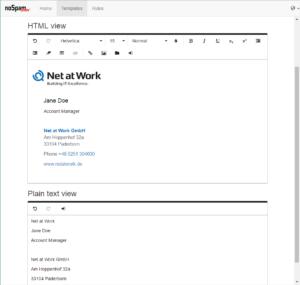 Screenshot NoSpamProxy Disclaimer templates
